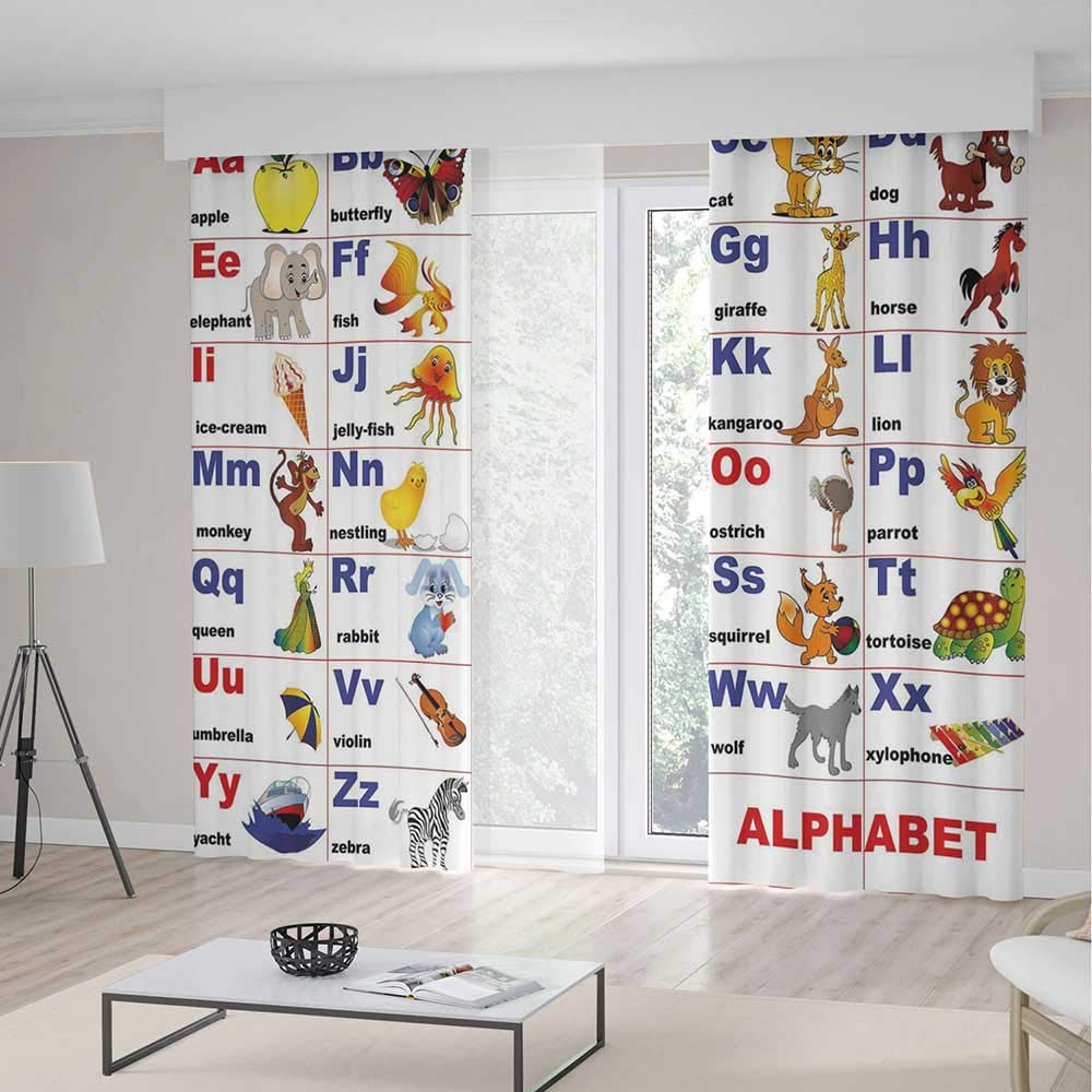 TecBillion Bedroom Curtains,Educational for Living Room,Animals Placed on Letter of The Alphabet Teachers Chart Classroom Kindergarten,196Wx83L Inches