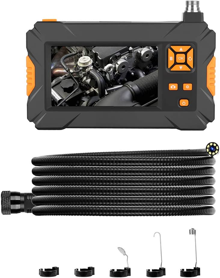 5m//16.4 ft 8mm Waterproof Lens 8pcs LED Light 4.3-Inch 1080P HD Borescope Orange Buttons Kecheer Endoscope Camera Inspection Camera with Extra Torch