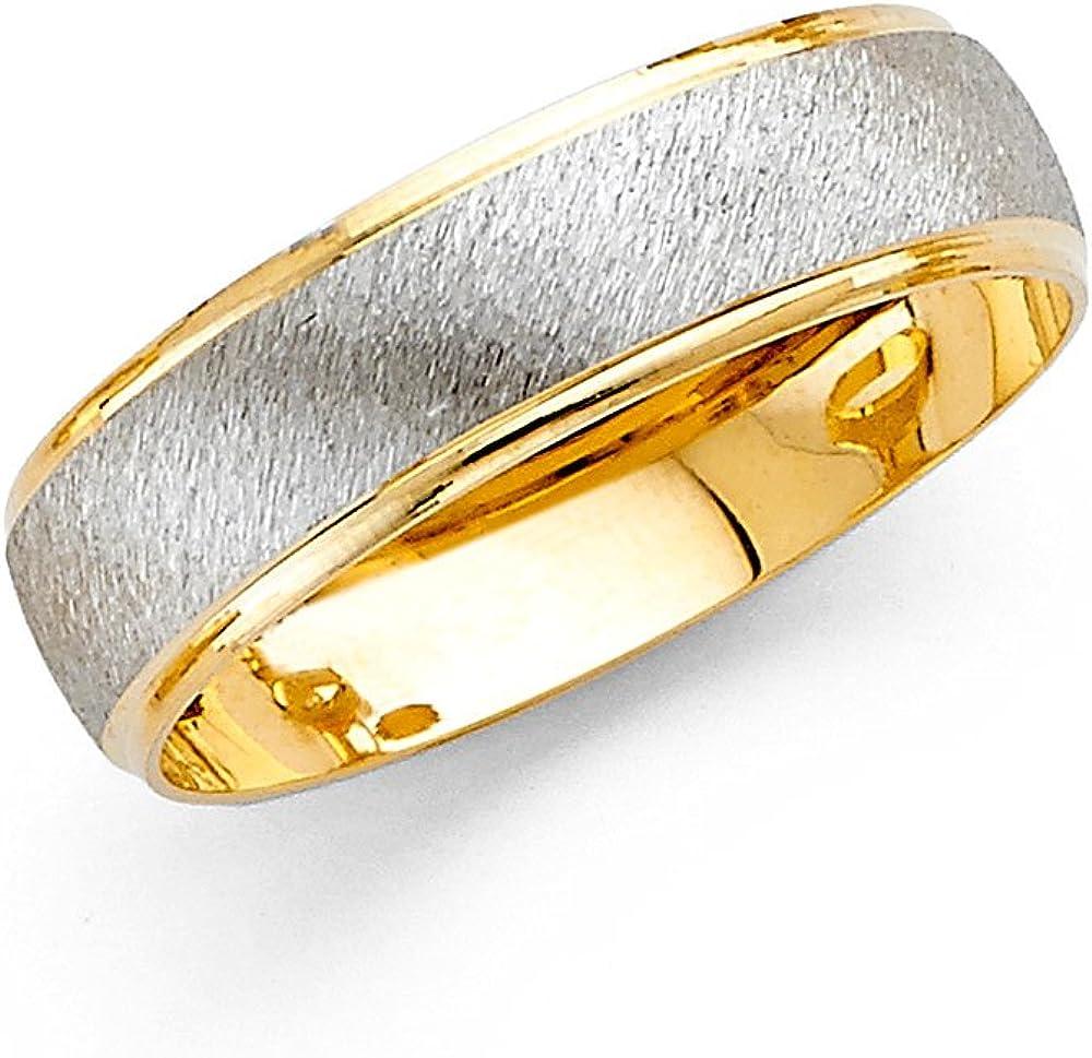 ZenJewels Wedding Band Solid 14k Yellow White Gold Ring Brushed Satin Polished Finish Two Tone Fancy 6 mm
