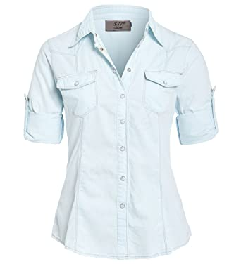 f35e6b2fc14 SS7 Womens Fitted Denim Shirt Ladies Bleach Jean Shirts Size 6 8 10 12 14  New: Amazon.co.uk: Clothing