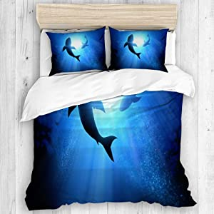 CHASOEA Duvet Cover Sheet Set,Under The Waves Circle Two Great White Sharks_213109039,Soft Microfiber Bedding Set-3 Piece Set,Twin