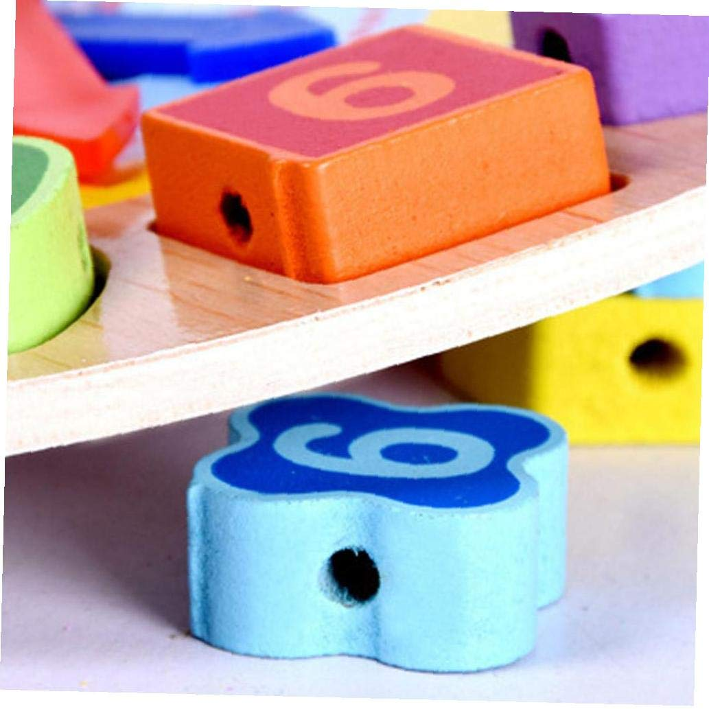 Animal Zebra Wood Educational Clock Toys For Children Beads Lacing Montessori Jigsaw Toy Digital Geometry Clock