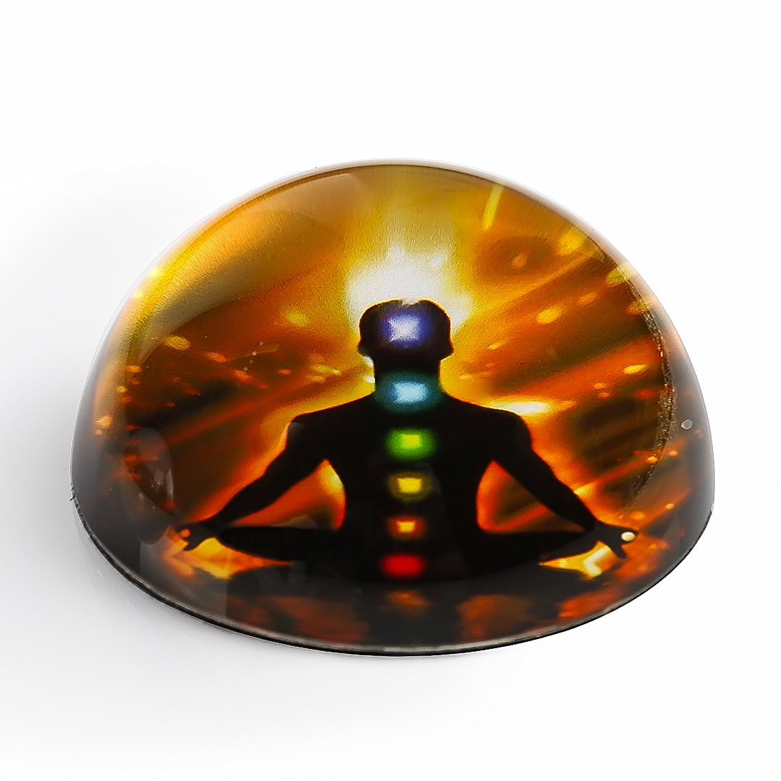 H&D 3D Glass Fengshui Nature Dome Paperweight 3inch Diameter (Men Chakra)