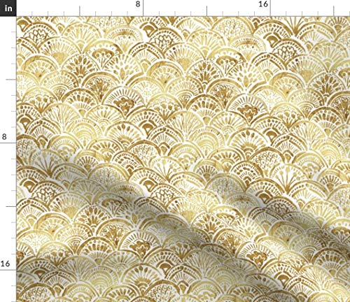 Spoonflower Watercolor Scales Fabric - Watercolor Arches Boho Art Deco Glam Mermaid Scales Scallop Boho Art Deco Arches by Crystal Walen Printed on Satin Fabric by The Yard