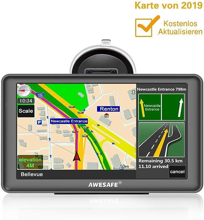 Awesafe Gps Navi Navigation 7 Zoll Touchscreen Für Auto Pkw Lkw Navigationsgerät 2019 Lebenslang Kostenloses Kartenupdate Elektronik