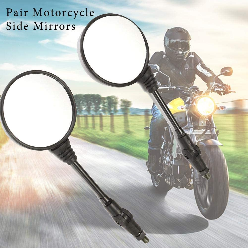 fancyU One Pair Folding Universal Black Round Motorcycle Rearview Side Mirror For Honda KTM
