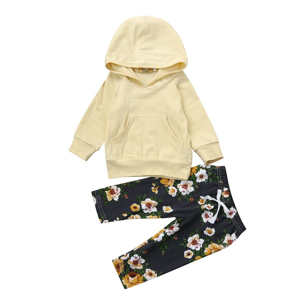 Baby Girls Autumn Sets,Jchen(TM) for 0-18 Months 2PCS Toddler Infant Girls Long Sleeve Solid Hoodie Tops Floral Pants Clothes Sets for Your Little Princess (Age: 12-18 Months)