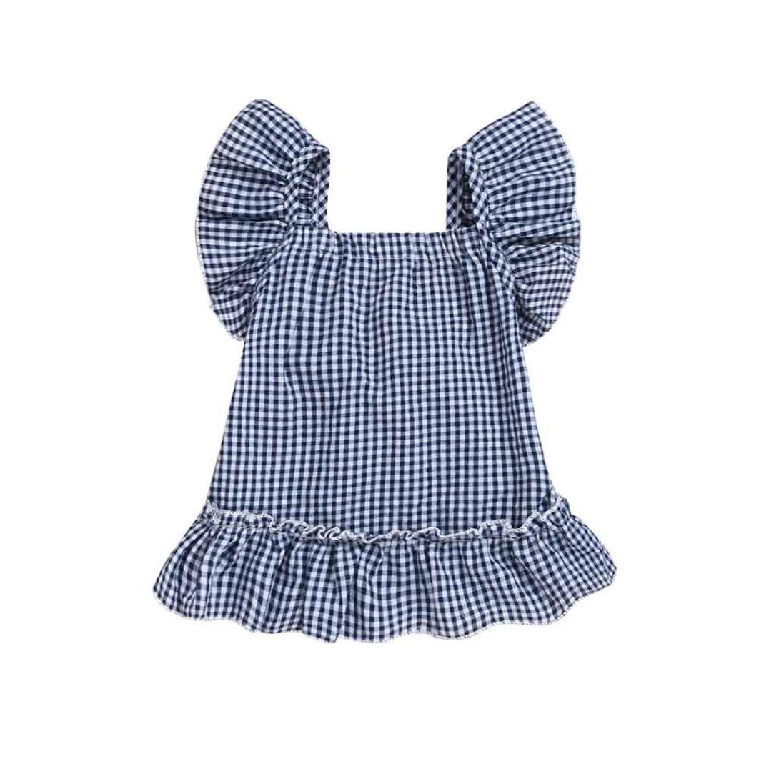 CSSD Baby Girls Kids Plaid Dress, Sleeveless Ruched Bowknot Sundress Princess Dress