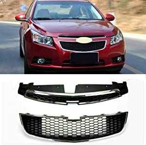Autowell Front Grill Upper Lower Grille Fit For Chevrolet Cruze 2009-2014 Black with Chrome
