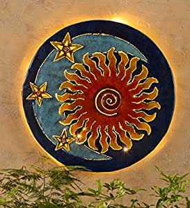 Handcrafted Glowing Sun And Moon Metal Wall Art