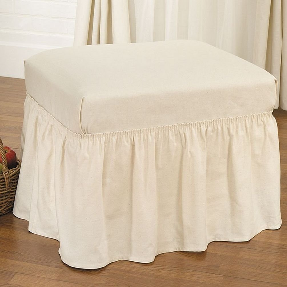 Sure Fit Duck Solid - Ottoman Slipcover - Linen (SF14390) Surefit Inc.