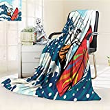 Anime Blanket Surf Cabana Hawaii Surfboard Gifts for Surfer Ocean Tropical Beach Summer Waves Decorations for Kids and Teens Accessories Pictures Digital Prints Blue Navy White Red
