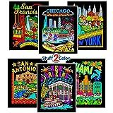 Fuzzy Velvet Coloring Posters - New York, Miami, New Orleans, San Francisco, and San Antonio