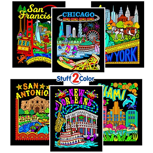 Stuff2Color Fuzzy Velvet Coloring Posters - New York, Miami, New Orleans, San Francisco, and San Antonio