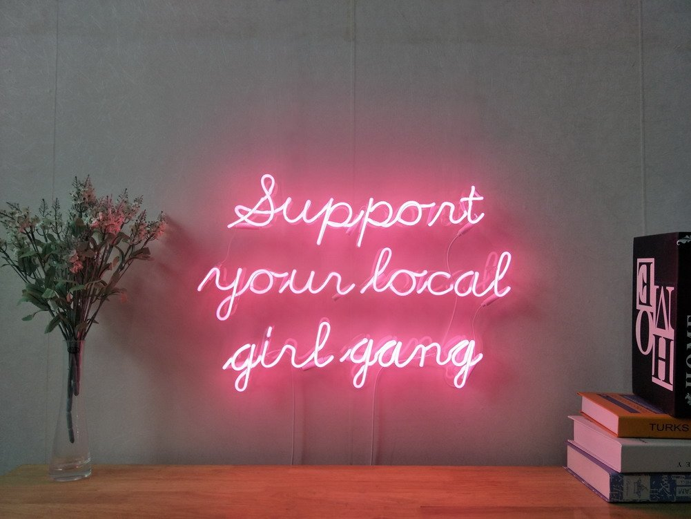 Support Your Local Girl Gang Real Glass Neon Sign For Bedroom Garage Bar Man Cave Room Home Decor Handmade Artwork Visual Art Dimmable Wall Lighting Includes Dimmer