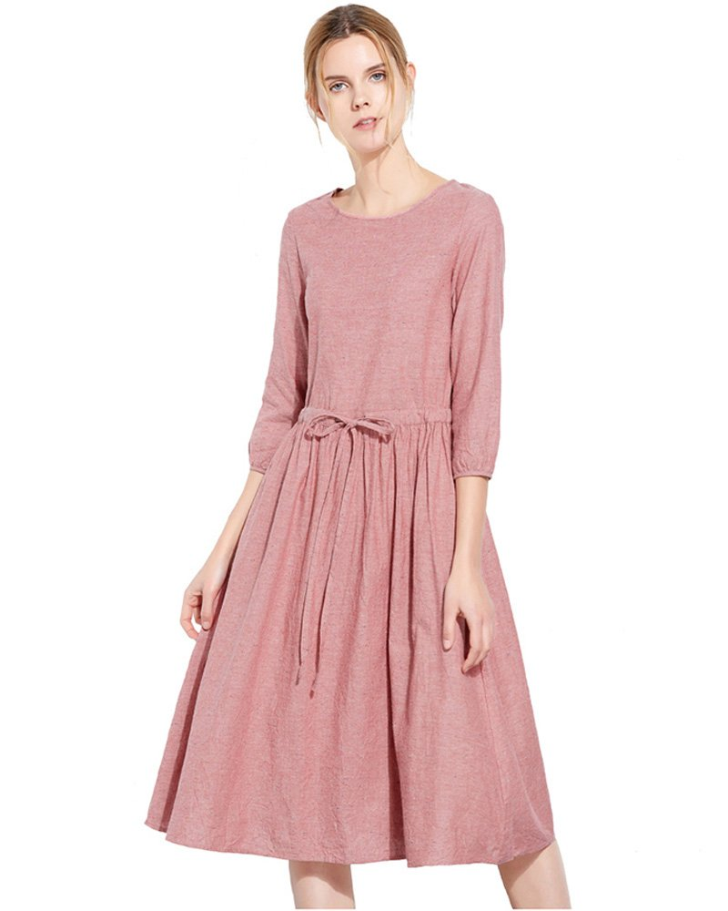 UAISI Casual Dress Plus Size Cotton Dresses for Women Summer Slim fit (M, C-Pink-3/4Sleeve)