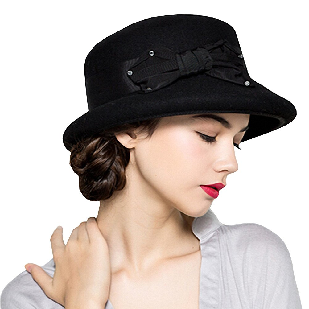Maitose Women s Bow Flowers Wool Felt Bowler Hat Black at Amazon Women s  Clothing store  bc895af30bdb