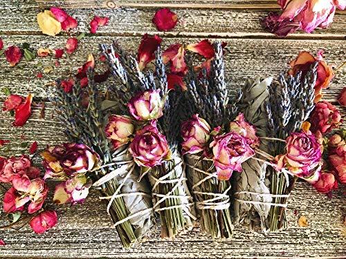 Rose and Lavender Goddess Floral Smudge - Lavender Smudge Stick