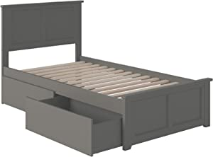Atlantic Furniture Madison Platform Matching Foot Board and 2 Urban Bed Drawers, Twin XL, Grey