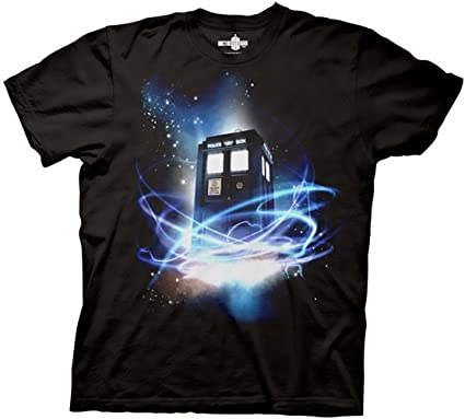 Doctor Who Tardis in Space Men's T-shirt (Small, Black)