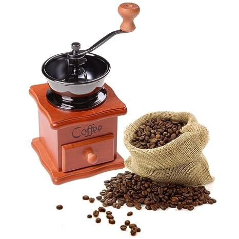 37YIMU - Clásico Portátil Molido Manual Café Bean Molinillo Retro Café Spice Mini Burr Mill con