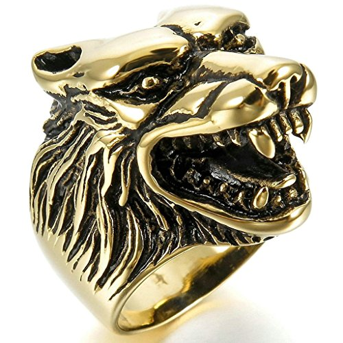 Aooaz Stainless Steel Rings For Men Wolf Head Silver Black Bands Size 7 Gothic Punk Free Engraving