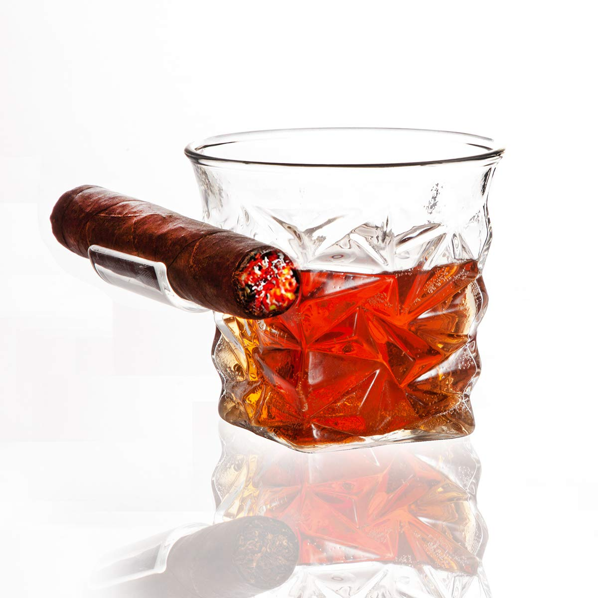 Beautifultracy Cigar Glass Whisky Glass with Cigar Holder