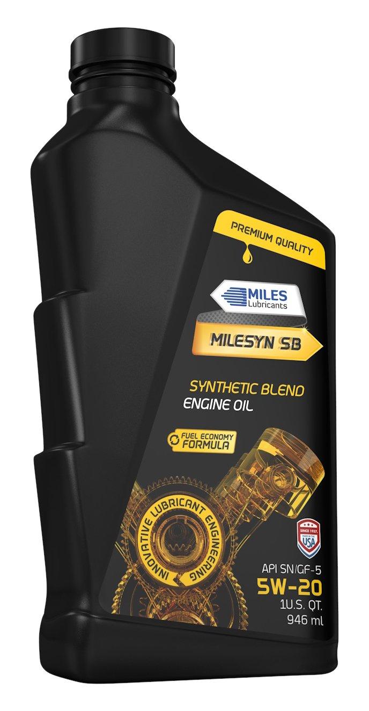 MILES LUBRICANTS M00100111 Milesyn SB 5W20 API GF-5/SN, Synthetic Blend Motor Oil, 1 quart Bottle (Pack of 12)