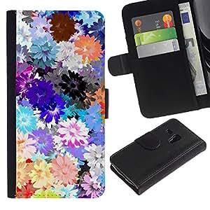WINCASE (No Para S3 i9300) Cuadro Funda Voltear Cuero Ranura Tarjetas TPU Carcasas Protectora Cover Case Para Samsung Galaxy S3 MINI 8190 - óleos de campo de flores de color rosa púrpura