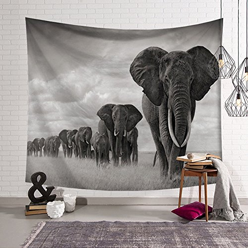 QCWN Elephant Tapestry Animal Series Wall Hanging Home Decoration for Bedroom and Living Room (12, 78Wx59L) (Elephant Tapestry)
