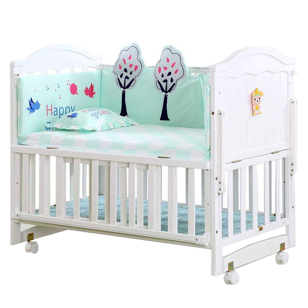 Crib Baby Cot Splicing Bed Solid Wood European Style Multifunction Cradle Bed (Color : White, Size : 1066498cm)