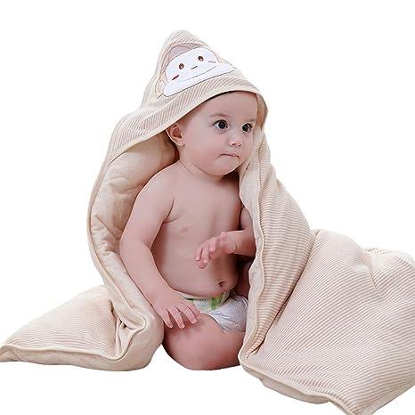ERBEIOU Envolvente Bebé Recien Nacido Saco De Dormir Manta De Arrullo Cobija Algodón Sombrero A Prueba