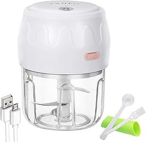 Electric Mini Garlic Chopper Mincer, Portable Cordless Garlic Mincer Grinder Small Food Processor for Onion/Ginger/Pepper/Nuts/Meat Mini Food Chopper(250 ML)