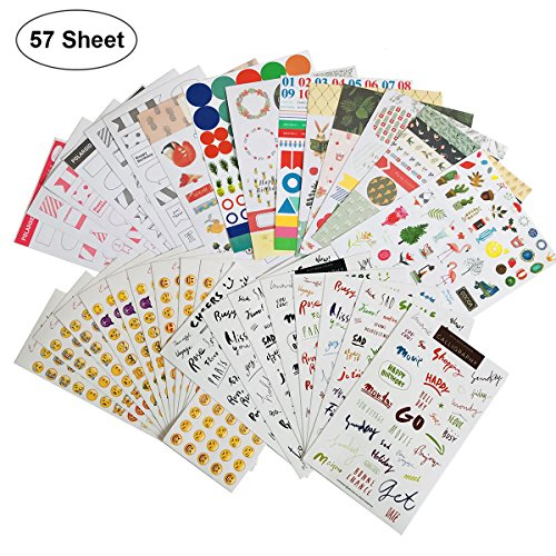 Calendar Planner Stickers (Assorted 57 Sheets) with Variety Emoji Florals Words Pattern,Decorative Sticker Collection for Scrapbooking, Calendars, Arts, Kids DIY Crafts, Album, Bullet Journals
