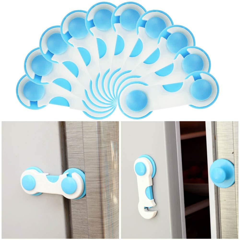 WENTS 12PCS cerradura de seguridad con gaveta para ni/ños hebilla de puerta anti-puerta de beb/é puerta de gabinete Cerradura de seguridad para gabinete para ni/ños