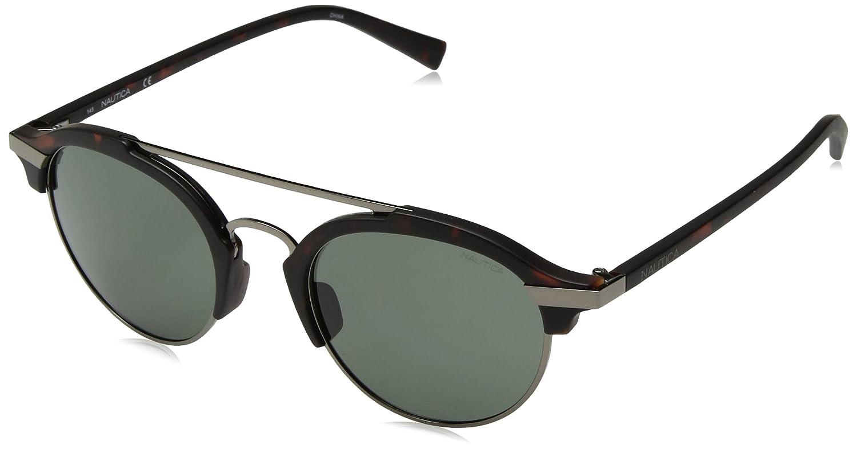 1f40e470bef Amazon.com  Nautica Men s N4629sp Polarized Round Sunglasses MATTE DARK  TORTOISE 50 mm  Clothing