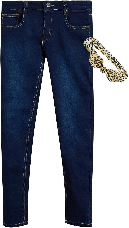 dELiAs Girls Super Stretchy Denim Jeans with Colorful Sash Belt