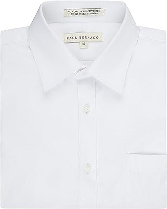 Paul Bernado Boys Slim Fit Long Sleeve Pique Design Dress Shirt
