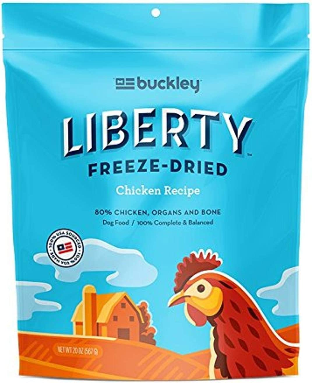 Buckley Liberty Freeze Dried Dog Food/Food Topper And Mixer, Chicken, 20 Ounce