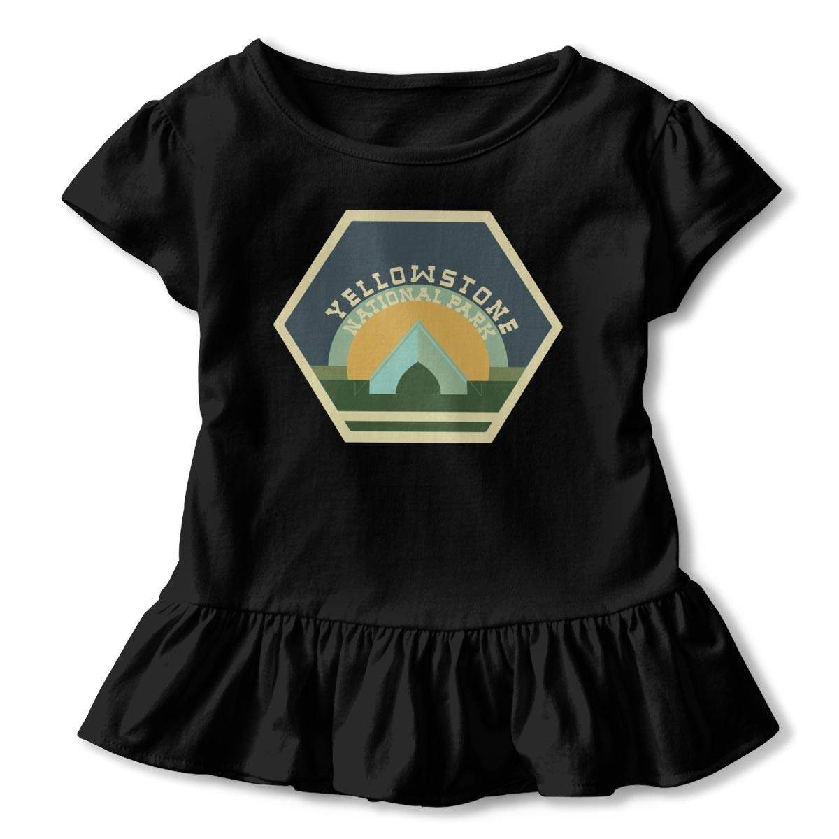 Yellowstone National Park Shirt Printed Toddler Flounced T Shirts Outfits for 2-6T Baby Girls