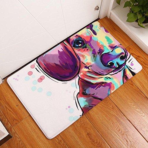 Eazyhurry Purple Puppy Dog Print Rectangle Thin Doormat Pet Puppy Dog Printed Coral Fleece Home Decor Carpet Kitchen Floor Runner Floor Mat Indoor Outdoor Area Rug 16