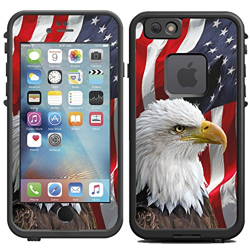 Protective Designer Vinyl Skin Decals / Stickers for LIFEPROOF FRE iPhone 6 / 6S Case - Bald Eagle American Flag - design - by [TeleSkins] - Only SKINS and NOT Case (Iphone 6 Skins American Flag)