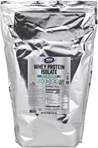 NOW Sports Nutrition, Whey Protein Isolate, 25 G With BCAAs, Creamy Vanilla Powder, 10-Pound