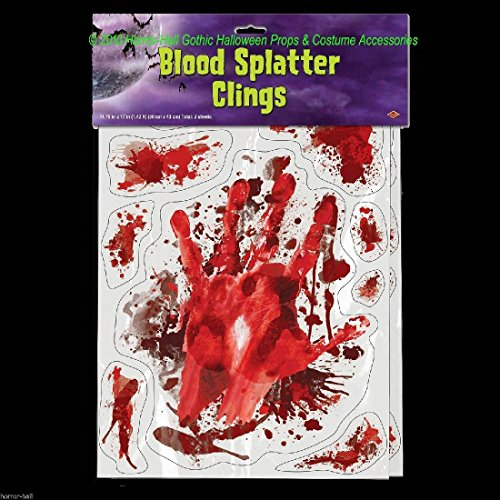 Csi Rabbit Costume (Outdoor LIFE SIZE BLOODY HAND PRINTS SPLATTER CAR DECAL CLING Window Door Mirror)