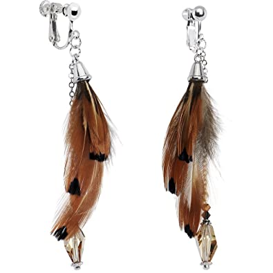 Amazon Com Body Candy Handcrafted Silver Plated Fall Feather Clip