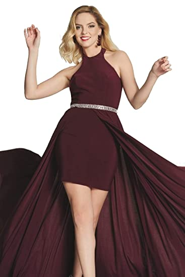Tiffanys Illusion Prom Wine Annabelle Halterneck Long/Short Dress UK 4