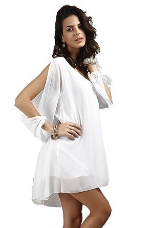 Kleid Damen Blusenkleider Volltonfarbe Sexy Kawei Young Fashion Ygbf7y6 TJlF1Kc