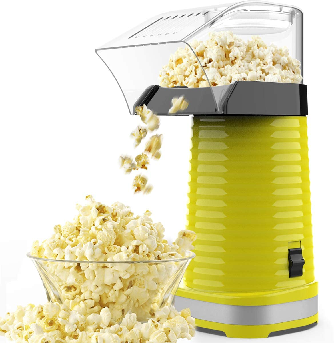 SLENPET Hot Air Popcorn Machine, 1200W Electric Popcorn Maker, ETL Certified, BPA-Free, No Oil Need, 3 Minutes Fast Popcorn Popper with Measuring Cup and Top Lid for Home, Family, Party (Yellow)
