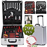 Yaheetech Tool Cabinet Chest Box Case Mobile Rolling Mechanic Tool Set Toolbox Trolley 799pcs