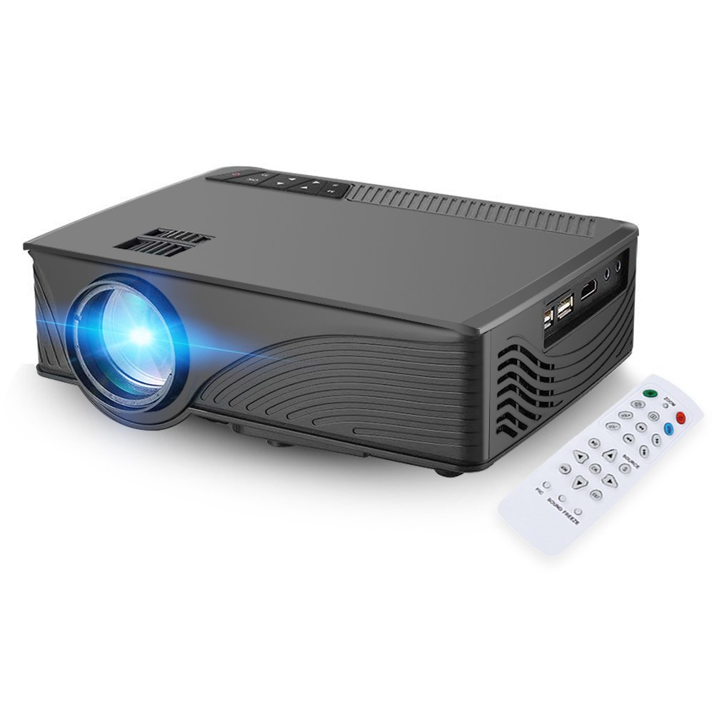 Mini Projector, [Upgrade]GBTIGER 2000 Lumens Portable Home LED Projector Support Full HD 1080P 800 x 480 Pixels Multimedia Home Theater Movie Game Video Projector with VGA HDMI USB Port (Black)